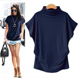 Women's Blue Casual Turtleneck Short Sleeve Blouse