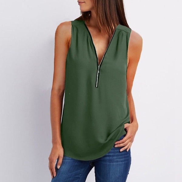 Women's Green Summer V Collar Zipper Blouse