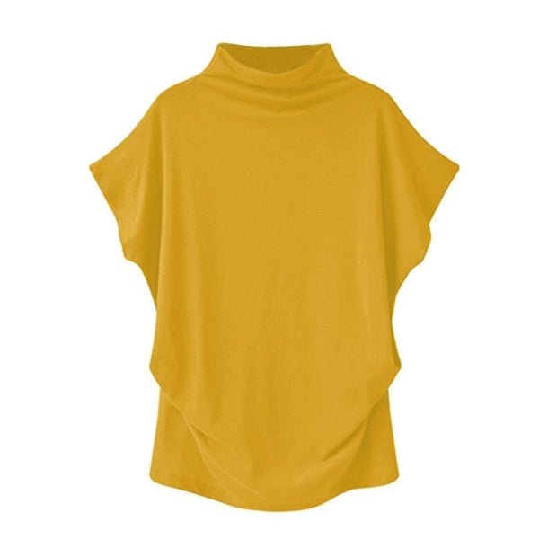 Women's Yellow Casual Turtleneck Short Sleeve Blouse
