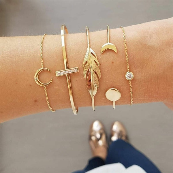 Women's Gold Moon Leaf Bohemian Bracelet Set