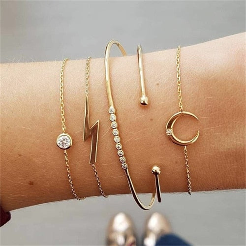 Women's Gold Moon Bohemian Bracelet Set