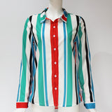 Women's Teal Striped Long Sleeve Button Down Blouse