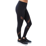 Women's Blue Fitness Legging With Mesh Design