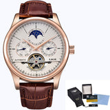 Men's Gold White Automatic Mechanical Leather Band Watch
