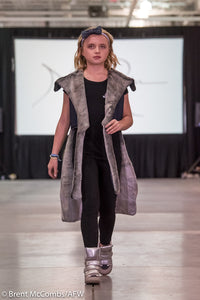The Madelyn - Kids Sized Denim/Fur Cape