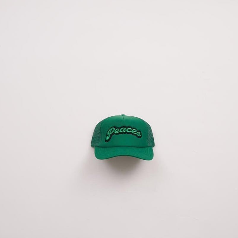 Peaces Script Trucker Hats