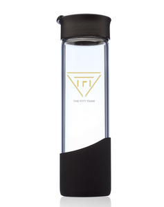 TFT Premium Glass Water Bottle with Silicone Sleeve - Black