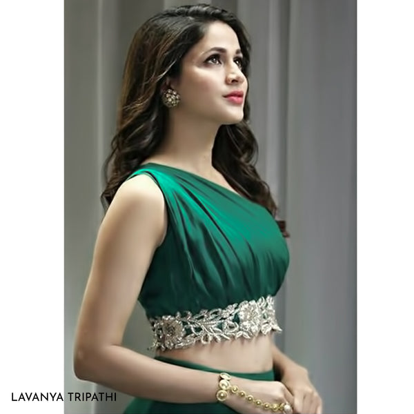 Gold Toned White Crystal Studs Worn By Lavanya Tripathi