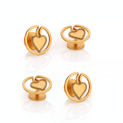 22k gold plated round kurta buttons with twisted wire heart.