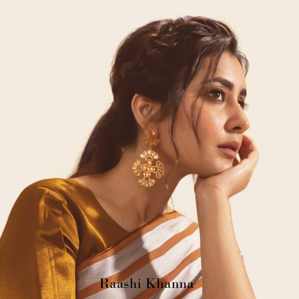 GOLD TONED CROSS CREST DROP EARRINGS WORN BY RAASHI KHANNA