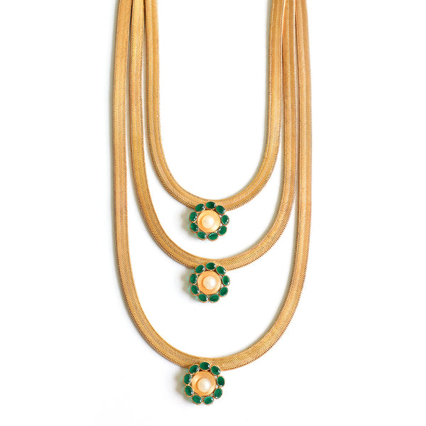 Gold Three Layer Necklace with Green Crystals