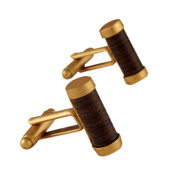 Golden Capsule Cufflinks with Wood