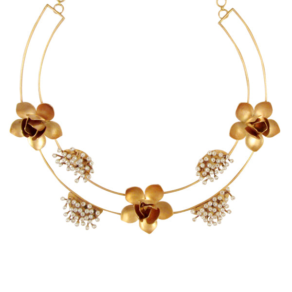 Gold Toned Magnolia Collar Necklace with Pearl Clusters