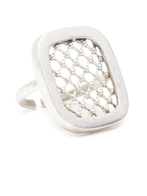Silver-plated handcrafted ring with stylised rectangular and cut-out detail