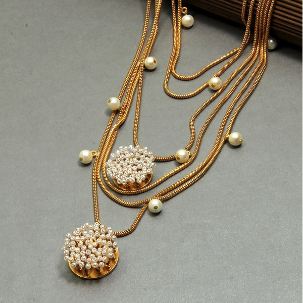 Gold Multi Layered Chain Necklace with Pearls