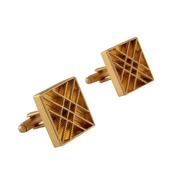 Golden Crosschecked Cufflinks