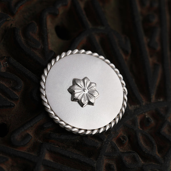 92.5 Sterling Silver Coin with entwined border and delicate flower detailing