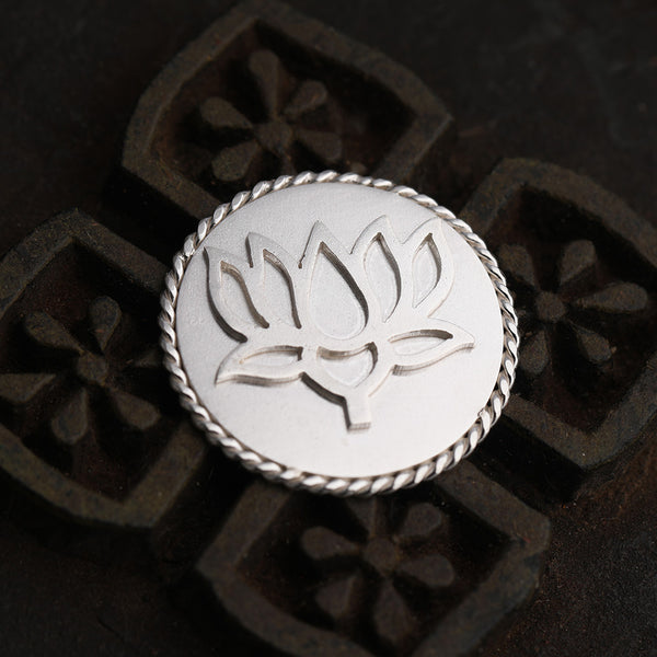 92.5 Sterling Silver Coin with entwined border and intricate lotus flower detailing