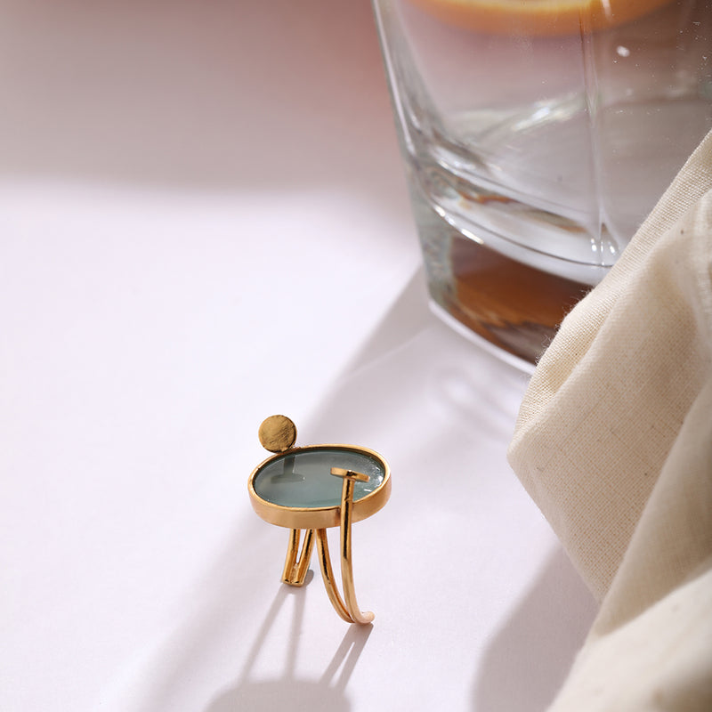ORBIT AROUND ME- RING WITH AQUA CHALCEDONY