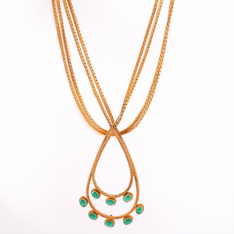 GOLD PLATED necklace with drop shAPED PENDANT