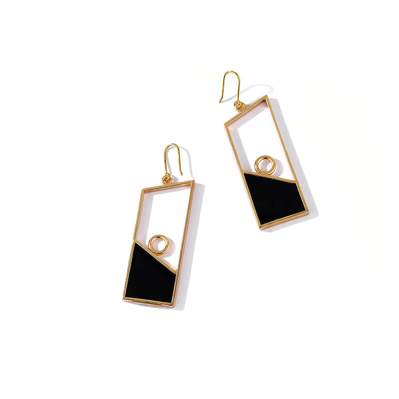 Gold Toned Geometric Black Perspex Drop Earrings