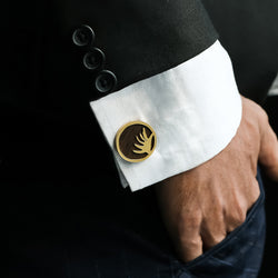 ORGANIC SPHERICAL SCULPTED CUFF LINK WITH WOODEN DETAILING