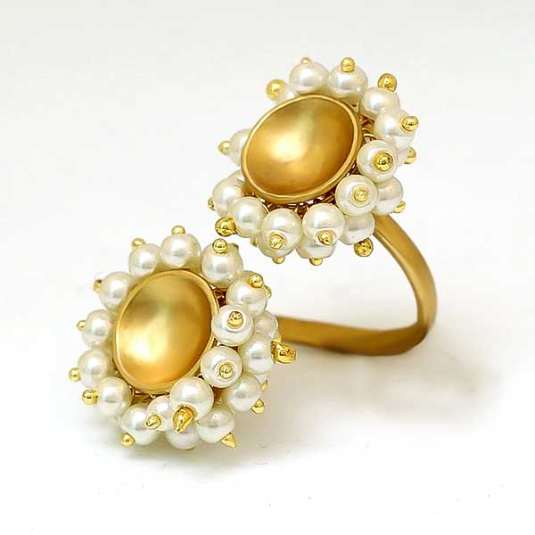Gold Toned Double Circle Pearl Ring