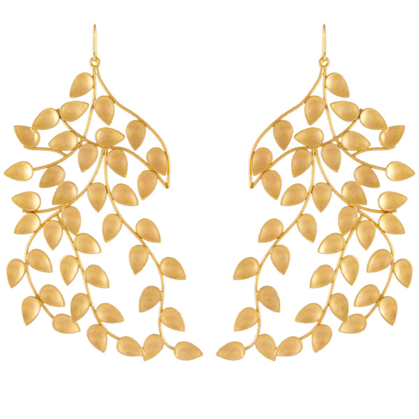Gold Twig & Leaf Drop Earrings