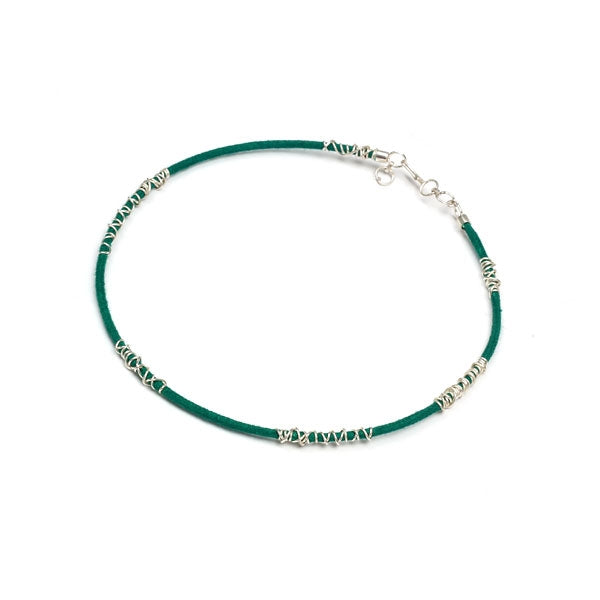 Green Cord & Silver Spiral Collar Necklace