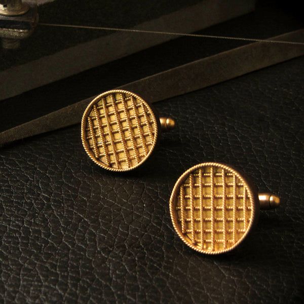 Golden Checkered Cufflinks
