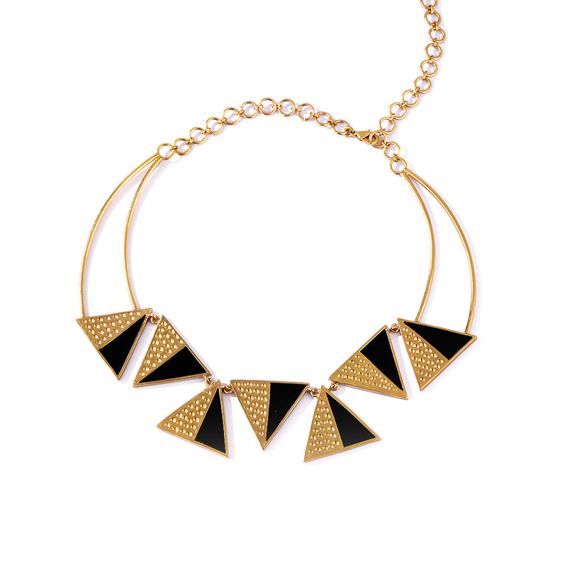 Gold Toned Triangles Perspex Necklace With Beaten Metal Detail
