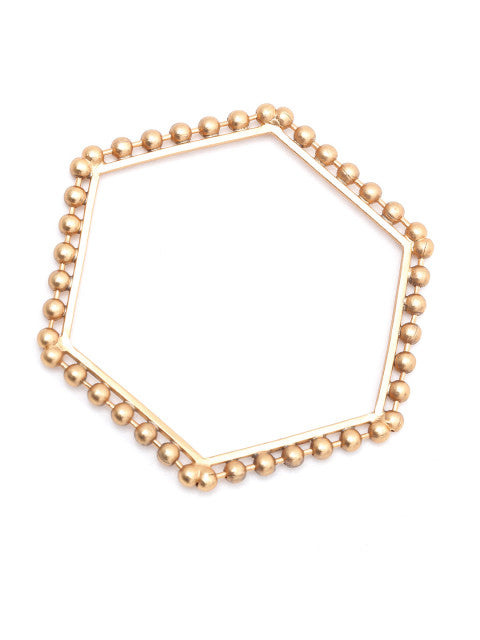Gold-plated handcrafted hexagonal bracelet, has metallic bead detail
