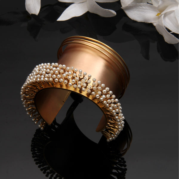 Gold Broad Cuff with Pearls