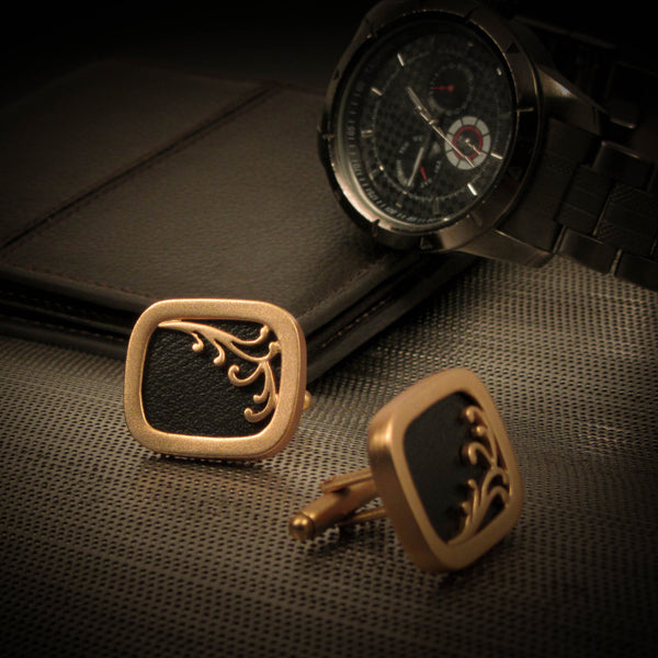 Golden baroque Cufflinks with Black Band