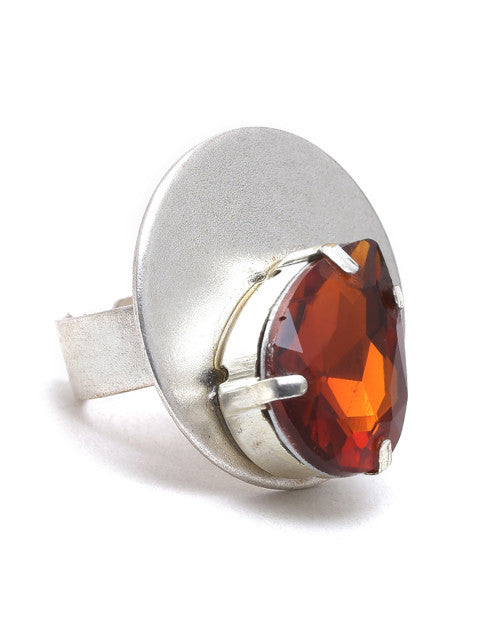 Rust orange silver-plated handcrafted ring