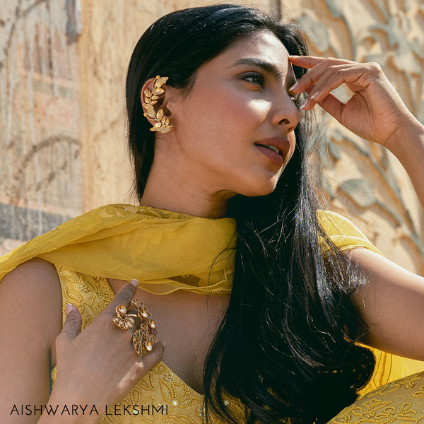 Gold Toned Rose Vine Ear Cuffs - worn by Aishwarya Lekshmi