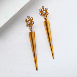 Gold plated cluster pearls and cone earring