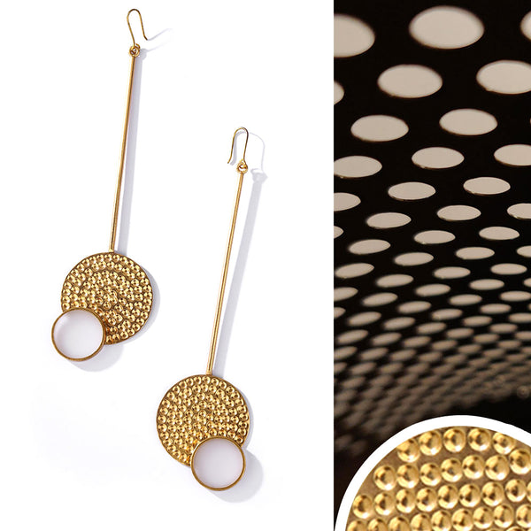 Gold Toned Acrylic Disc Pendulum Earrings With Beaten Metal Detail