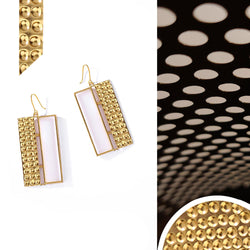Gold Toned Acrylic Rectangle Drop Earrings With Beaten Metal Detail