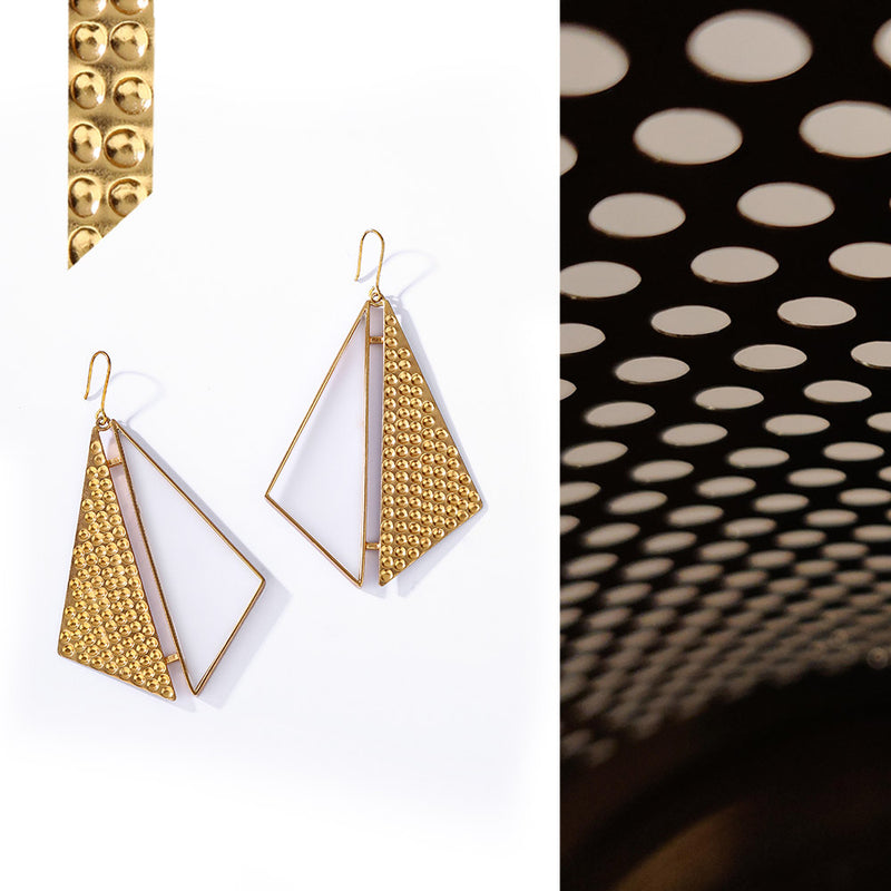 Gold Toned Double Triangle Acrylic Drop Earrings With Beaten Metal Detail