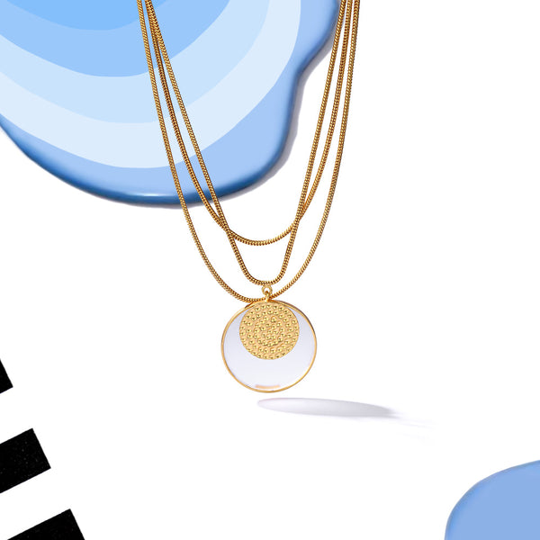 Gold Tone Multi-Chain Acrylic Disc Pendant Necklace