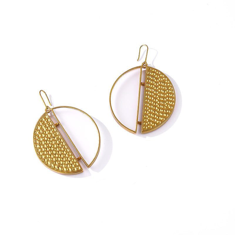 Gold Toned Acrylic Disc Drop Earrings With Beaten Metal Detail