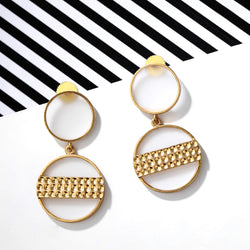 Gold Toned Double Acrylic Disc Drop Earrings With Beaten Metal Detail