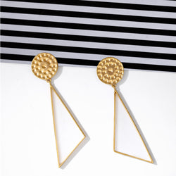 Gold Toned Triangle Drop Earrings With Beaten Metal Detail