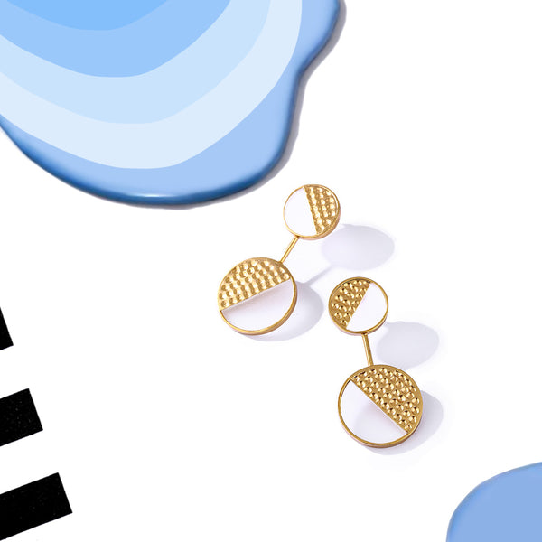 Gold Toned Double Acrylic Disc Pendulum Earrings With Beaten Metal Detail