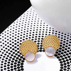Gold Toned Double Circle Acrylic Stud Earrings With Beaten Metal Detail