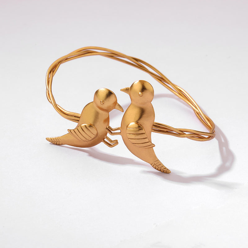 GOLD PLATED CUFF WITH BIRD MOTIF
