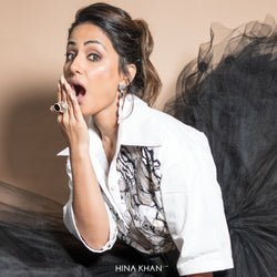 Silver Toned Acrylic & Perspex Circles Cocktail Ring Worn By Hina Khan