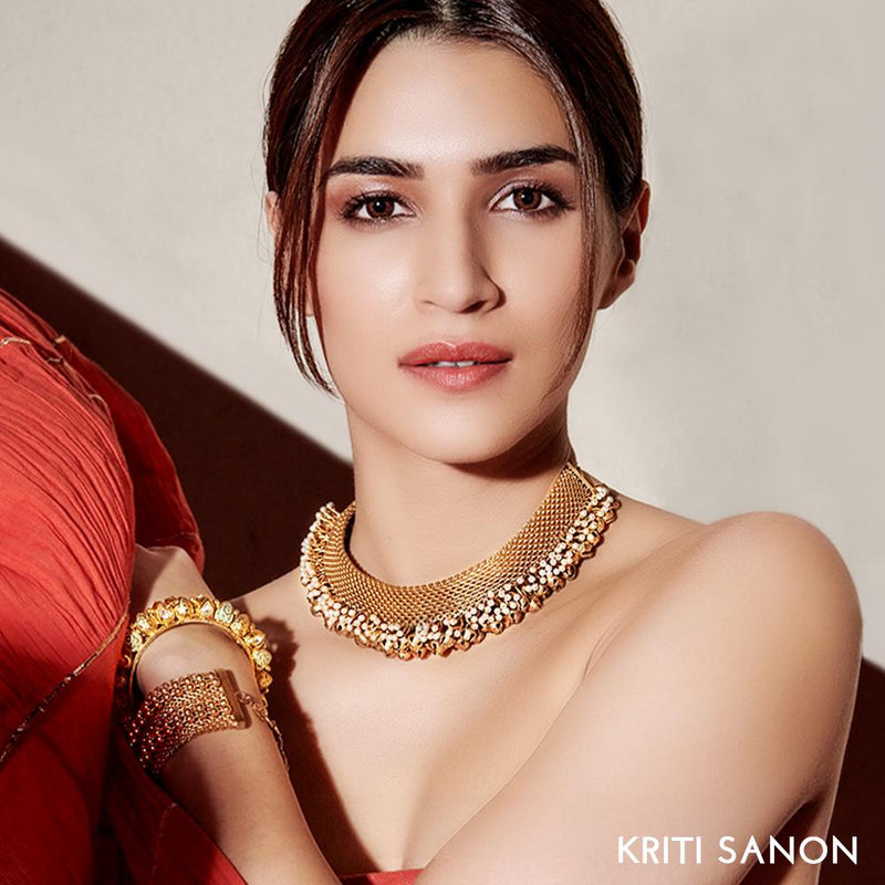 Gold Toned Mesh Necklace With Pearl & Ghungroo Detail Worn by Kriti Sanon