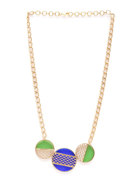 Green and blue gold-plated handcrafted necklace